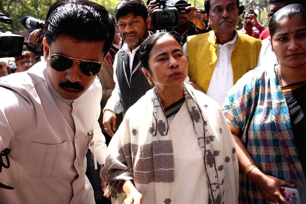 West Bengal Chief Minister Mamata Banerjee at the Parliament in New Delhi, on March 9, 2015.