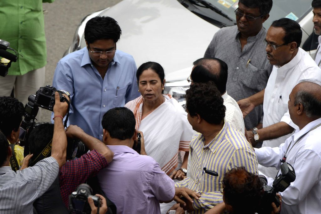 West Bengal Chief Minister Mamata Banerjee at the Parliament in New Delhi, on Aug 11, 2015. - Mamata Banerjee