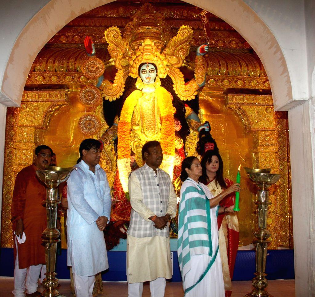West Bengal Chief Minister Mamata Banerjee at the inauguration of Kali Puja, in Kolkata on Oct 25, 2019. - Mamata Banerjee
