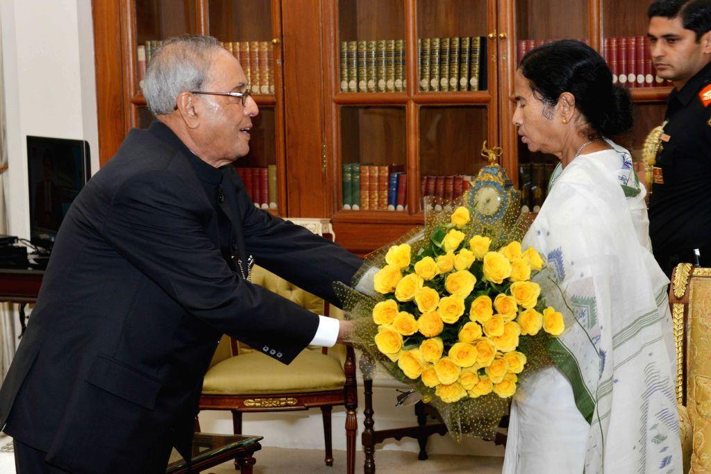 West Bengal Chief Minister Mamata Banerjee calls on President Pranab Mukherjee at Rashtrapati Bhavan in New Delhi, on Aug 11, 2015. - Mamata Banerjee and Pranab Mukherjee