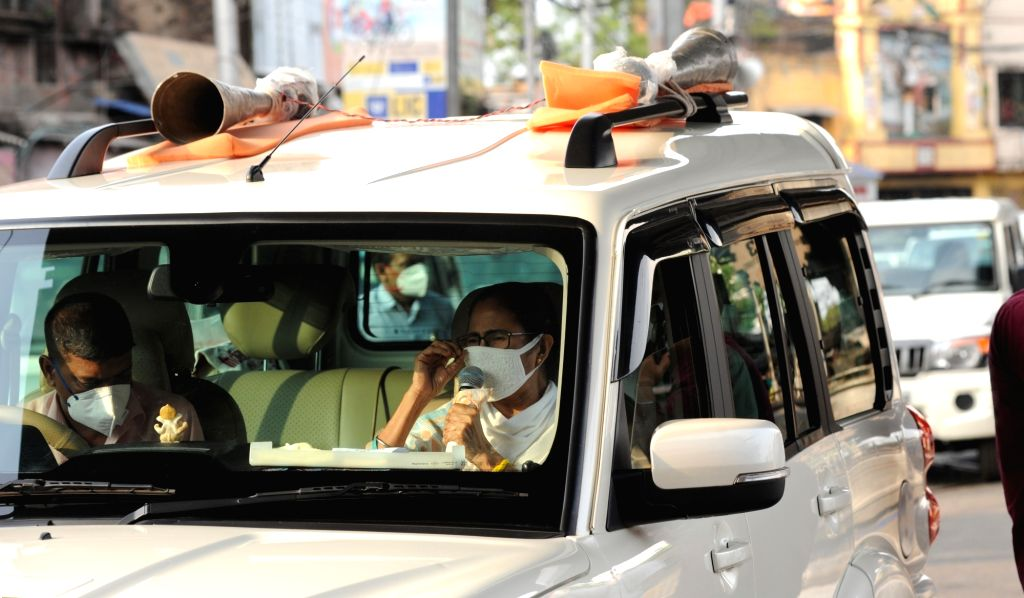 West Bengal Chief Minister Mamata Banerjee during her inspection visit to Kolkata's Khidirpur during the extended nationwide lockdown imposed to mitigate the spread of coronavirus; on Apr ... - Mamata Banerjee