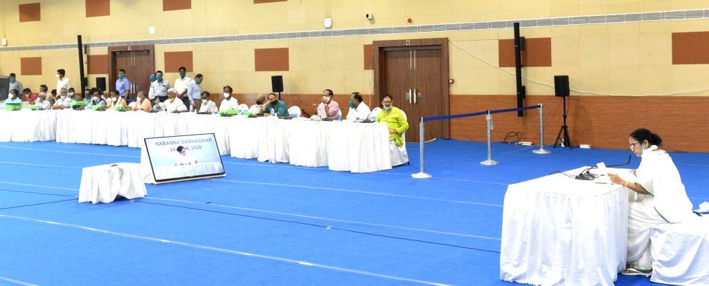 West Bengal Chief Minister Mamata Banerjee during All Party meeting at Nabanna in Howrah on June 24, 2020. - Mamata Banerjee