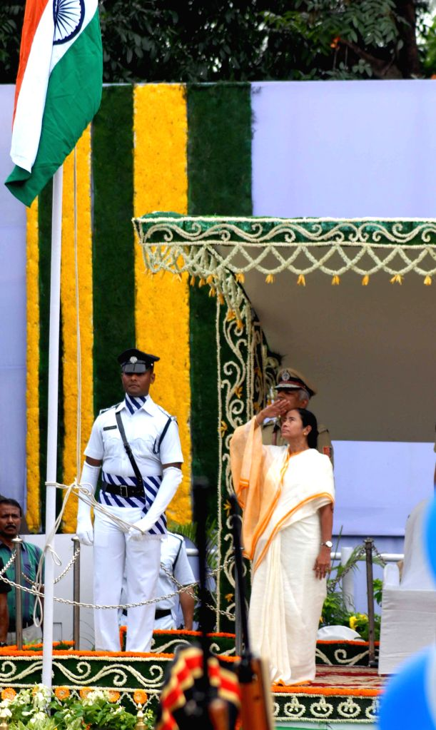 West Bengal Chief Minister Mamata Banerjee during the 69th Independence day celebration in Kolkata, on Aug 15, 2015.