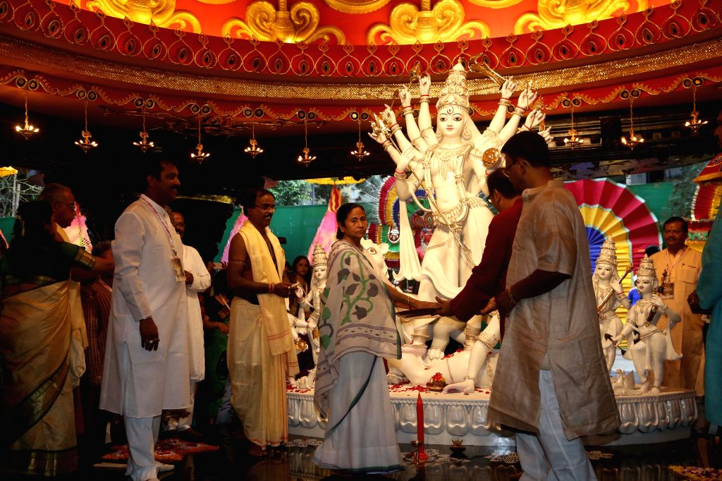 West Bengal Chief Minister Mamata Banerjee during the inauguration of the Suruchi Sangha Durga Puja festival in Kolkata on Oct 17, 2015.