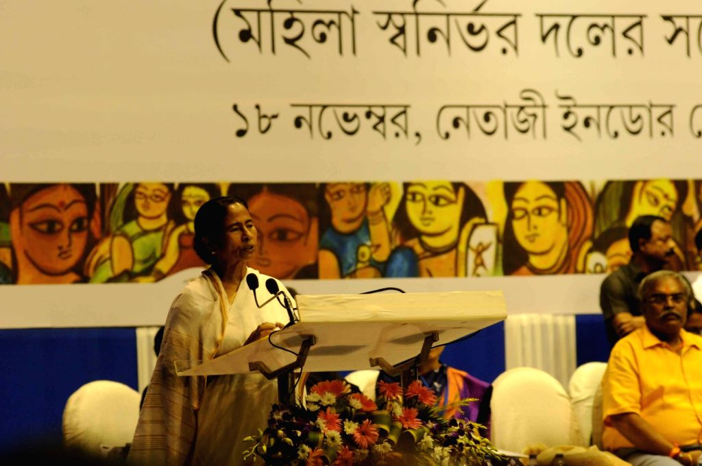 West Bengal Chief Minister Mamata Banerjee during a seminar of State Women Self Help Groups in Kolkata on Nov 18, 2015.