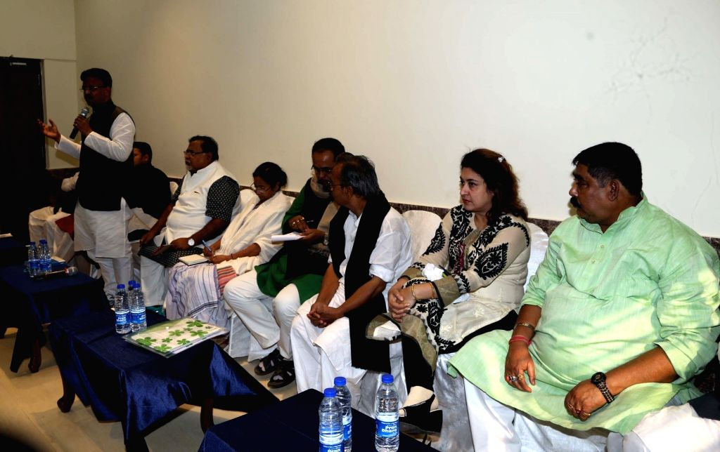 West Bengal Chief Minister Mamata Banerjee during a meeting at her residence in Kolkata, on Jan 16, 2016. West Bengal ministers Partha Chatterjee, Firhad Hakim, TMC MP Satabdi Roy and ... - Partha Chatterjee and Satabdi Roy