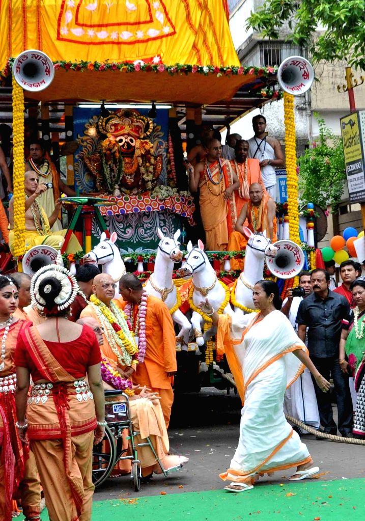 West Bengal Chief Minister Mamata Banerjee during ISKON Rath Yatra celebration in Kolkata on July 6, 2016. - Mamata Banerjee