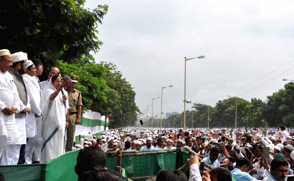 West Bengal Chief Minister Mamata Banerjee during Eid-al-Fitr celebrations in Kolkata, on July 7, 2016. - Mamata Banerjee