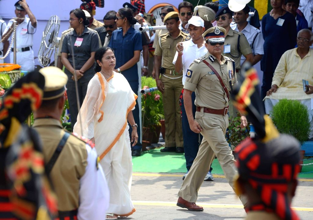 West Bengal Chief Minister Mamata Banerjee during Independence Day programme at Red Road in Kolkata on Aug 15, 2016. - Mamata Banerjee