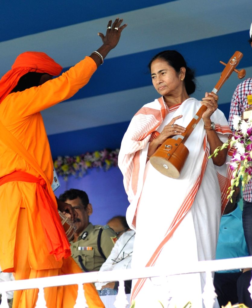 West Bengal Chief Minister Mamata Banerjee during a programme organised to give physical possession of lands to farmers in Singur, on Oct 20, 2016. - Mamata Banerjee