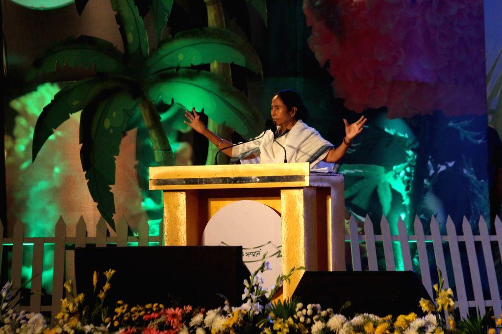 West Bengal Chief Minister Mamata Banerjee during 'Krishi Ratna Puraskar' to observe 'Krishak Dibas' in Kolkata on March 14, 2017. - Mamata Banerjee