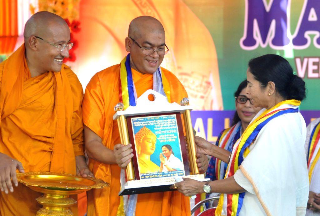 West Bengal Chief Minister Mamata Banerjee during Buddha Jayanti celebrations in Kolkata, on May 11, 2017. - Mamata Banerjee