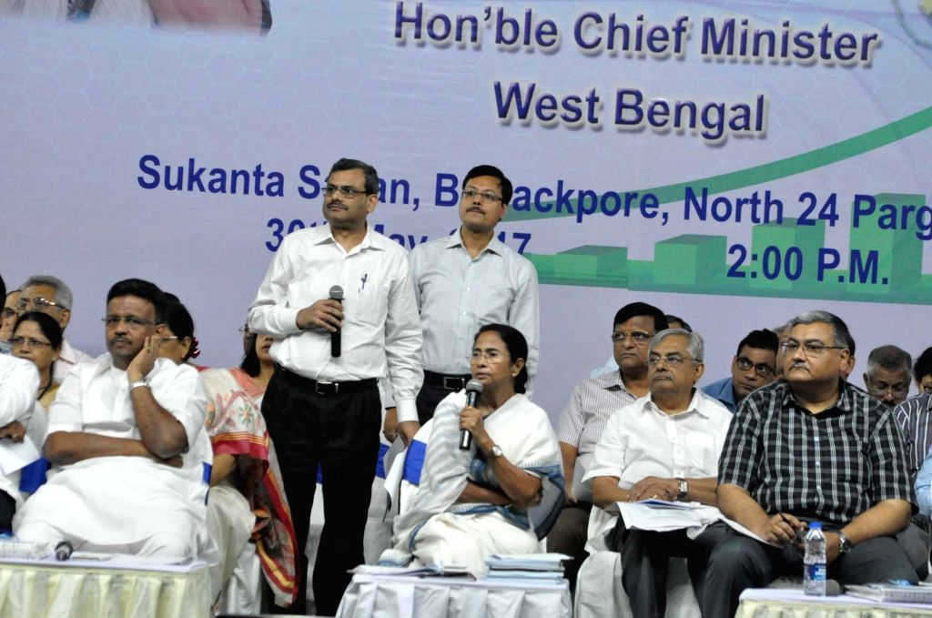 West Bengal Chief Minister Mamata Banerjee during a meeting with officials at Barrackpore in North 24 Parganas of the state on May 30, 2017. - Mamata Banerjee