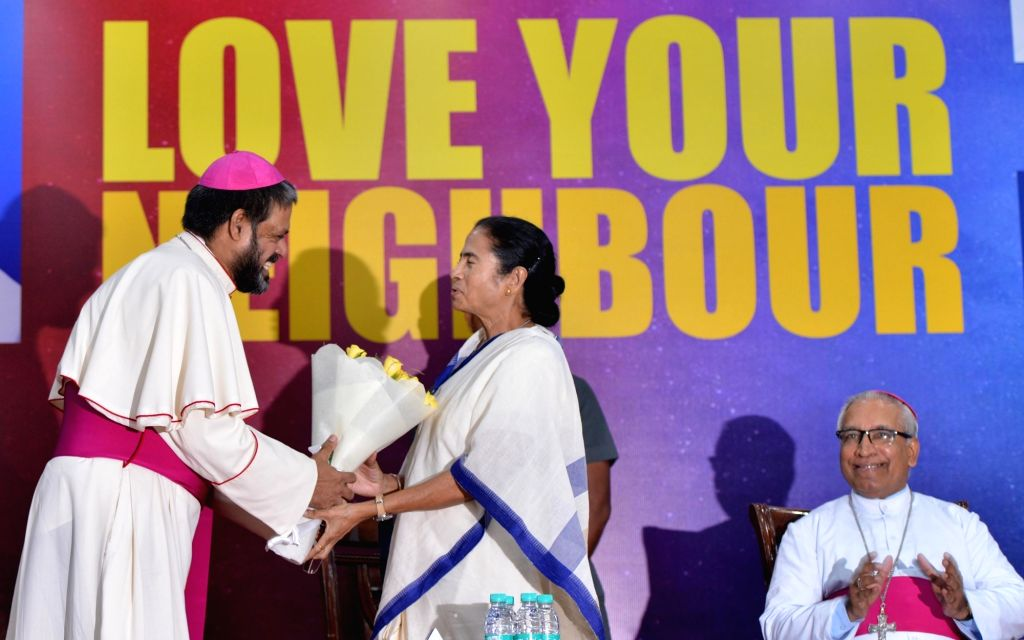 """West Bengal Chief Minister Mamata Banerjee during a conference on """"Love for Neighbour"""", in New Delhi on July 31, 2018. - Mamata Banerjee"""