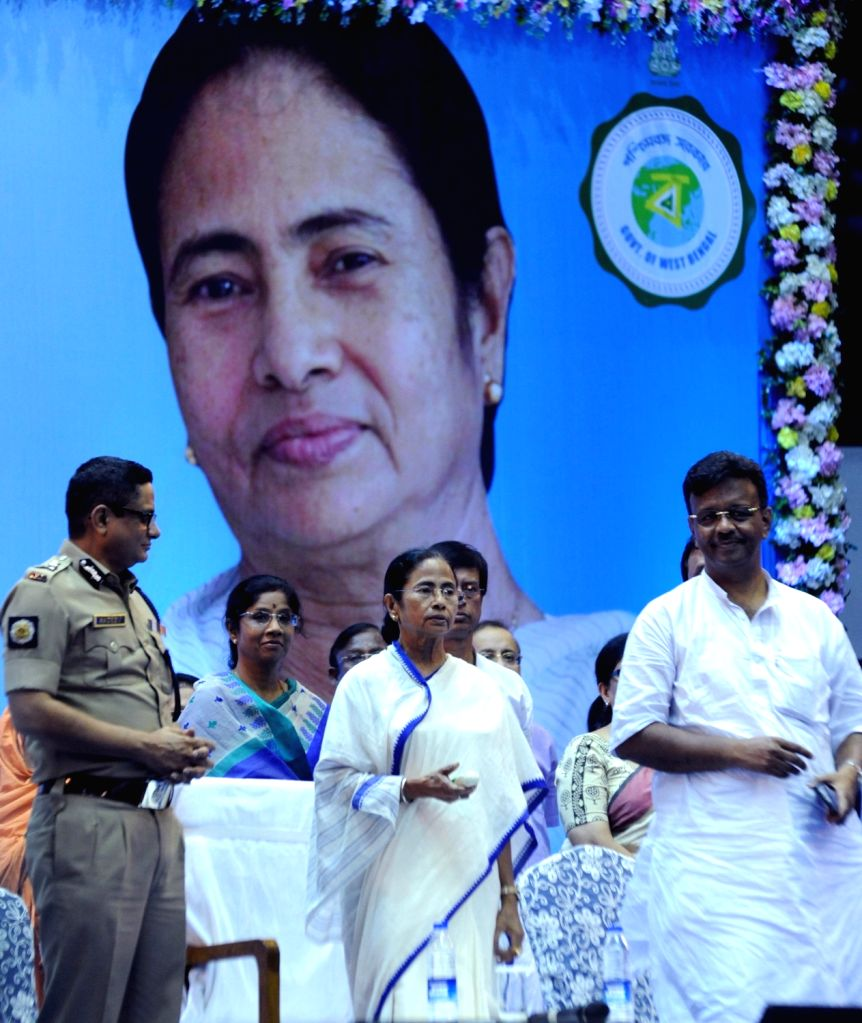 West Bengal Chief Minister Mamata Banerjee during a meeting ahead of Durga Puja in Kolkata, on Sept 10, 2018. She announced a grant of Rs 10,000 and waiver of licence fee for each of the 28,000 Durga ... - Mamata Banerjee