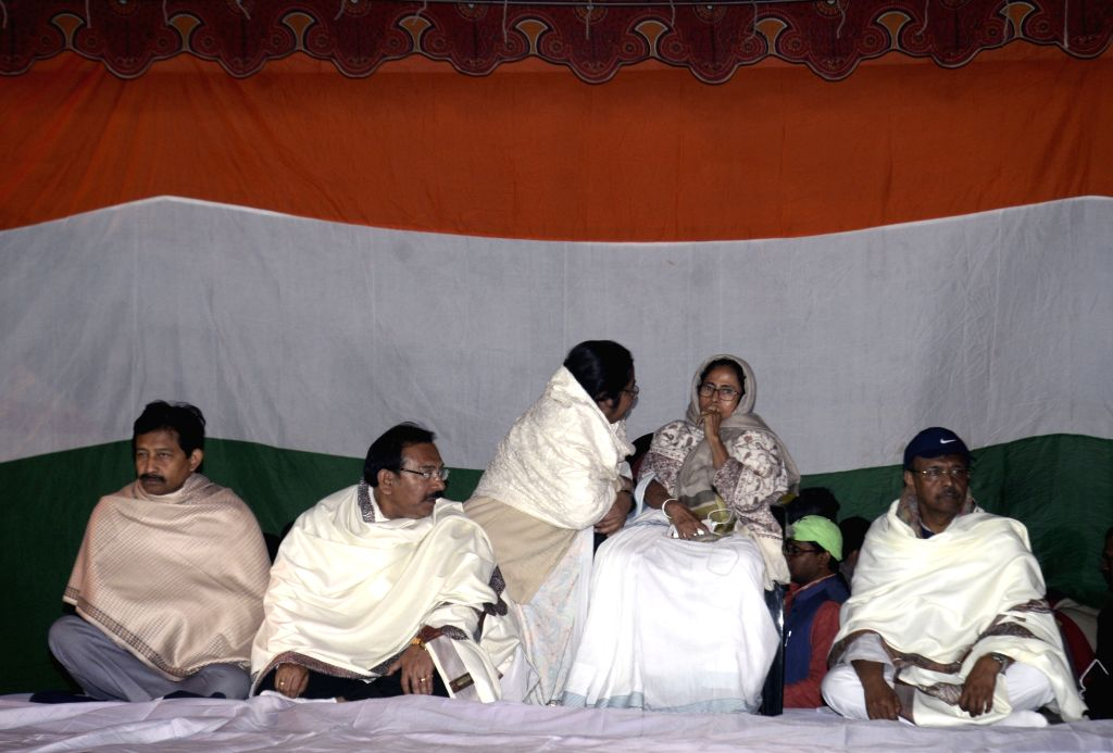 West Bengal Chief Minister Mamata Banerjee during a sit-in (dharna) protest against CBI raid to Kolkata Police Commissioner house at Metro Channel in Kolkata last night on Feb. 04, 2019. - Mamata Banerjee