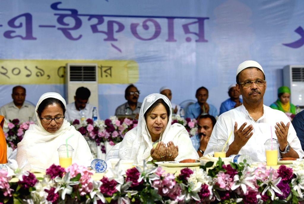 West Bengal Chief Minister Mamata Banerjee during an iftaar party in Kolkata on June 3, 2019. - Mamata Banerjee