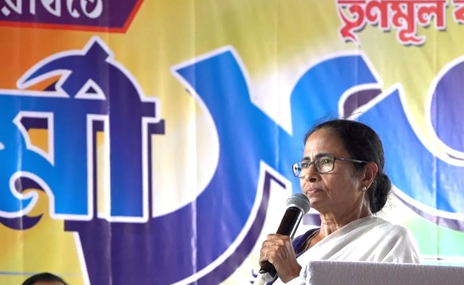 West Bengal Chief Minister Mamata Banerjee during a Trinamool Congress workers' meeting at Kanchrapara, West Bengal on June 14, 2019. - Mamata Banerjee