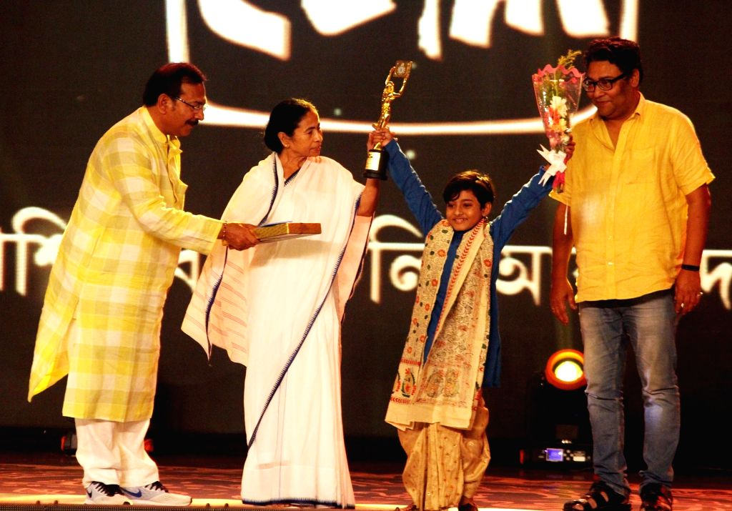 West Bengal Chief Minister Mamata Banerjee during West Bengal Tele Academy award ceremony in Kolkata on Sep 6, 2019. - Mamata Banerjee