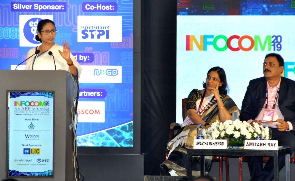 "West Bengal Chief Minister Mamata Banerjee during the inauguration of ""INFOCOM 2019"" in Kolkata on Dec 5, 2019. - Mamata Banerjee"