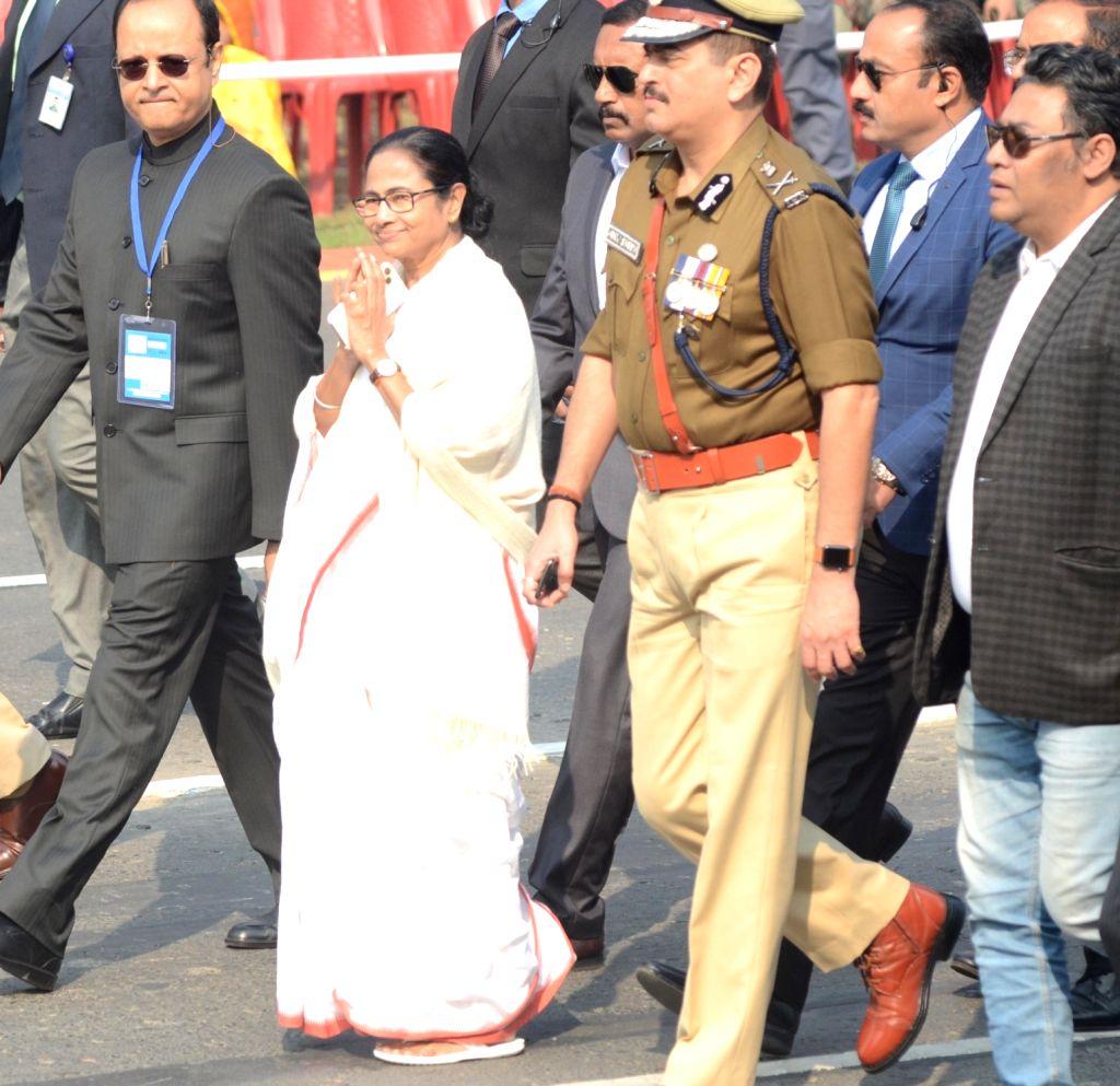 West Bengal Chief Minister Mamata Banerjee during the 71st Republic Day parade in Kolkata on Jan 26, 2020. - Mamata Banerjee