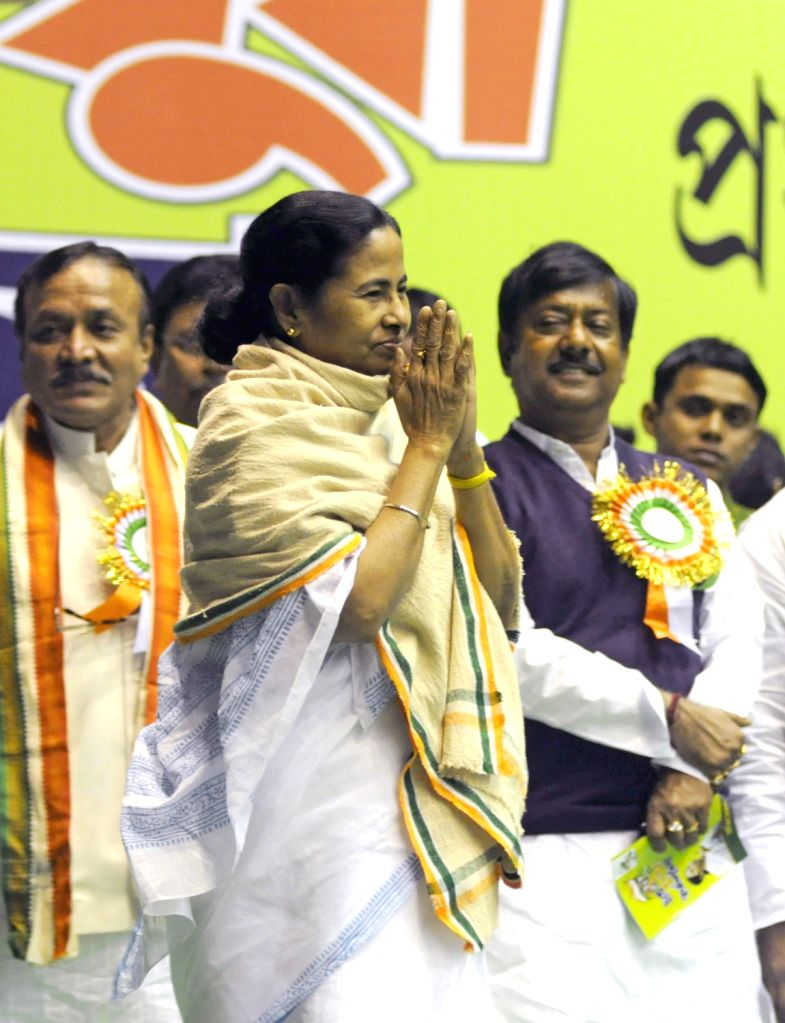 West Bengal Chief Minister Mamata Banerjee greets party workers  during workshop of Trinamul Congress in Kolkata on Feb. 4. - Mamata Banerjee