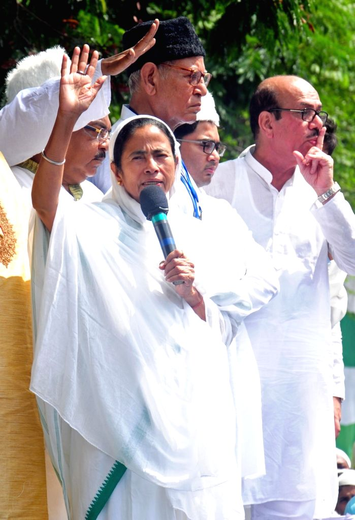 West Bengal Chief Minister Mamata Banerjee greets muslims on the occasion of Eid-ul-Fitr at Red Road in Kolkata on June 26, 2017. - Mamata Banerjee