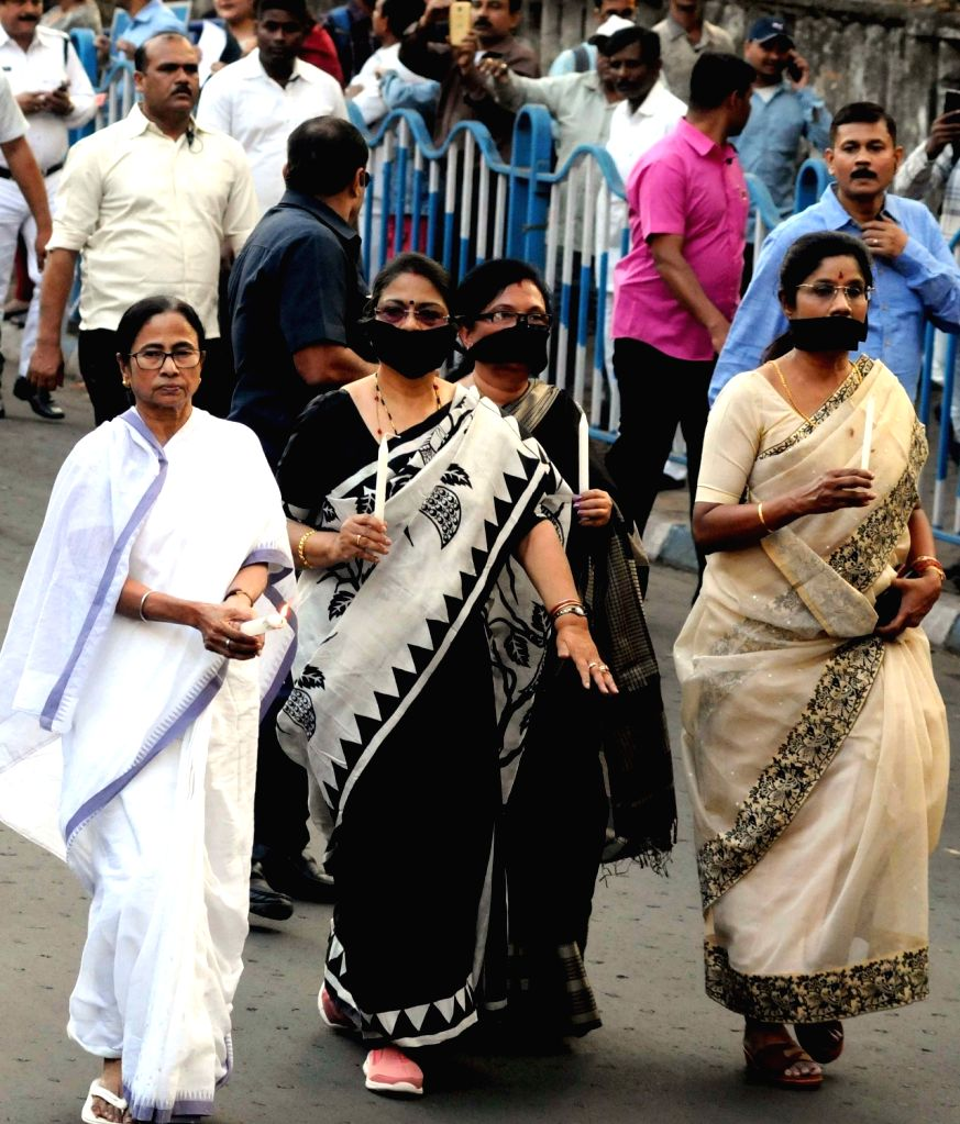 West Bengal Chief Minister Mamata Banerjee leads a candle march to pay tributes to the 49 CRPF men killed in 14 Feb Pulwama militant attack, in Kolkata on Feb 16, 2019. - Mamata Banerjee