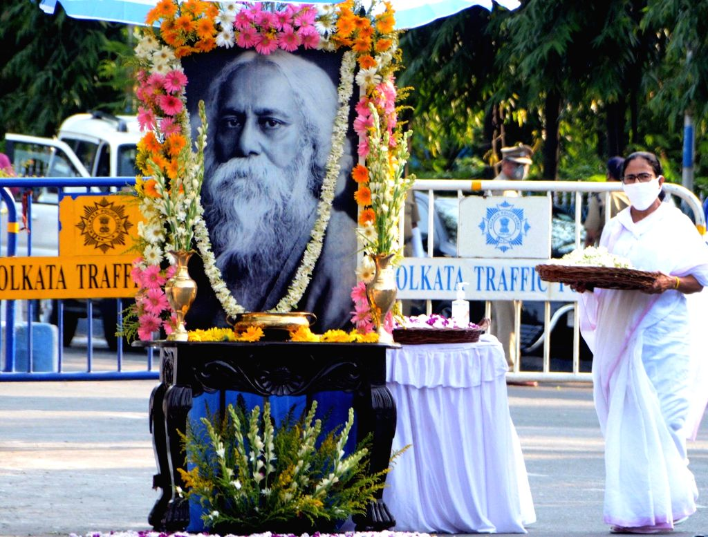 West Bengal Chief Minister Mamata Banerjee pays tribute to Rabindranath Tagore on his birth anniversary during the extended nationwide lockdown imposed to mitigate the spread of coronavirus, ... - Mamata Banerjee