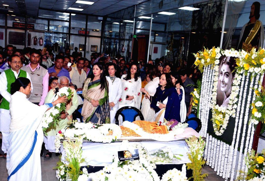 West Bengal Chief Minister Mamata Banerjee pays tribute to veteran Bengali film actress Supriya Devi who died at her South Kolkata residence following a massive heart attack in Kolkata, on ... - Mamata Banerjee