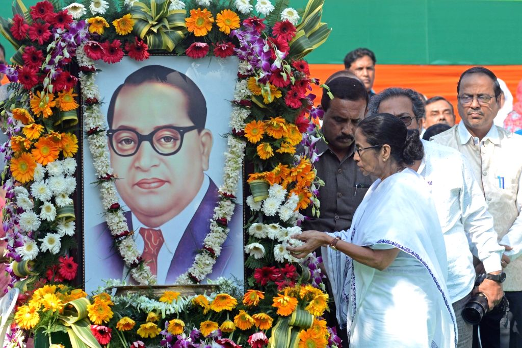 West Bengal Chief Minister Mamata Banerjee pays tributes to Dr B.R. Ambedkar on his 64th death anniversary commemorated as Mahaparinirvan Diwas, in Kolkata on Dec 6, 2019. - Mamata Banerjee