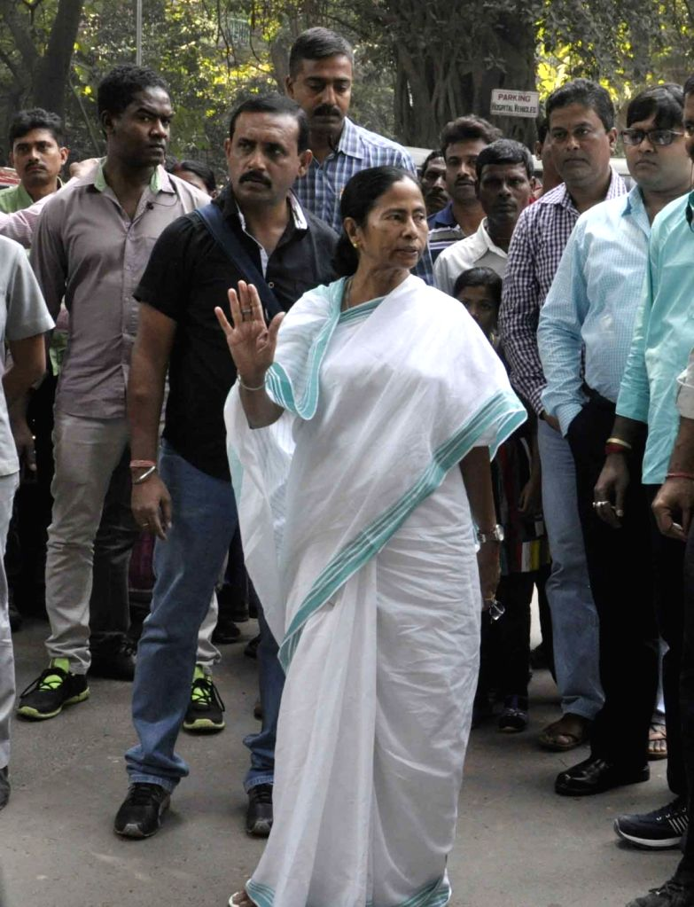 West Bengal Chief Minister Mamata Banerjee visits SSKM campus after a fire breaks out at SSKM hospital in Kolkata on Nov 21, 2016. - Mamata Banerjee