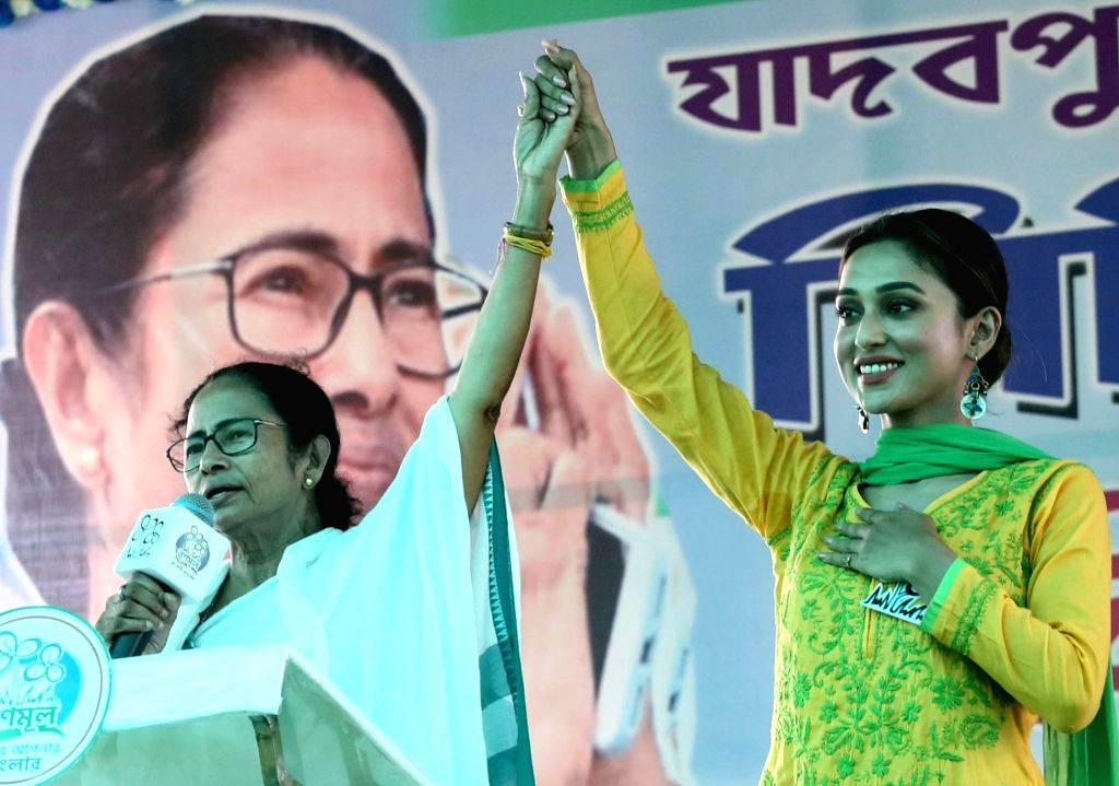 West Bengal Chief Minister Mamata Banerjee with actress Mimi Chakraborty, Trinamool Congress (TMC) candidate for Jadavpur Lok Sabha seat during an election rally in South 24 Parganas ... - Mamata Banerjee and Mimi Chakraborty