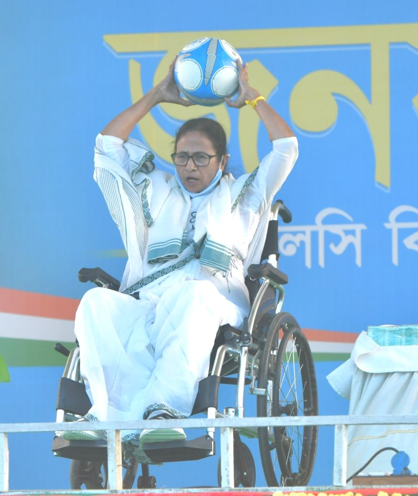 West Bengal Chief Minister & TMC supremo Mamata Banerjee at a public meeting for election campaign at Galsi during State Assembly election at Purba Bardhaman in West Bengal on April 17, 2021 - Mamata Banerjee