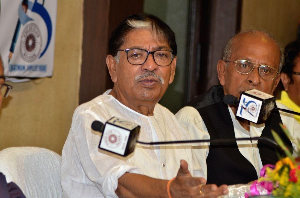 West Bengal Congress president Somen Mitra addresses a press conference at Kolkata Press Club in Kolkata, on April 24, 2019.
