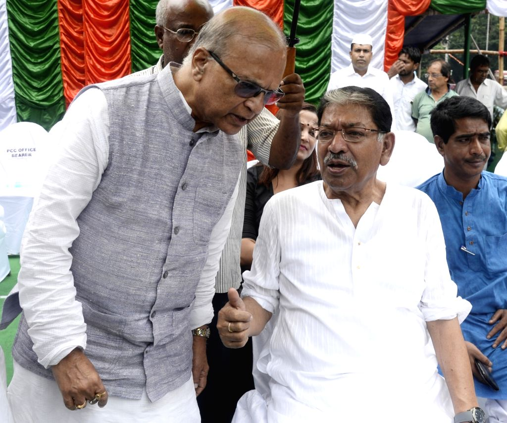 West Bengal Congress president Somen Mitra during a rally organised to protest State and Union Government in Kolkata on Sep 12, 2019.