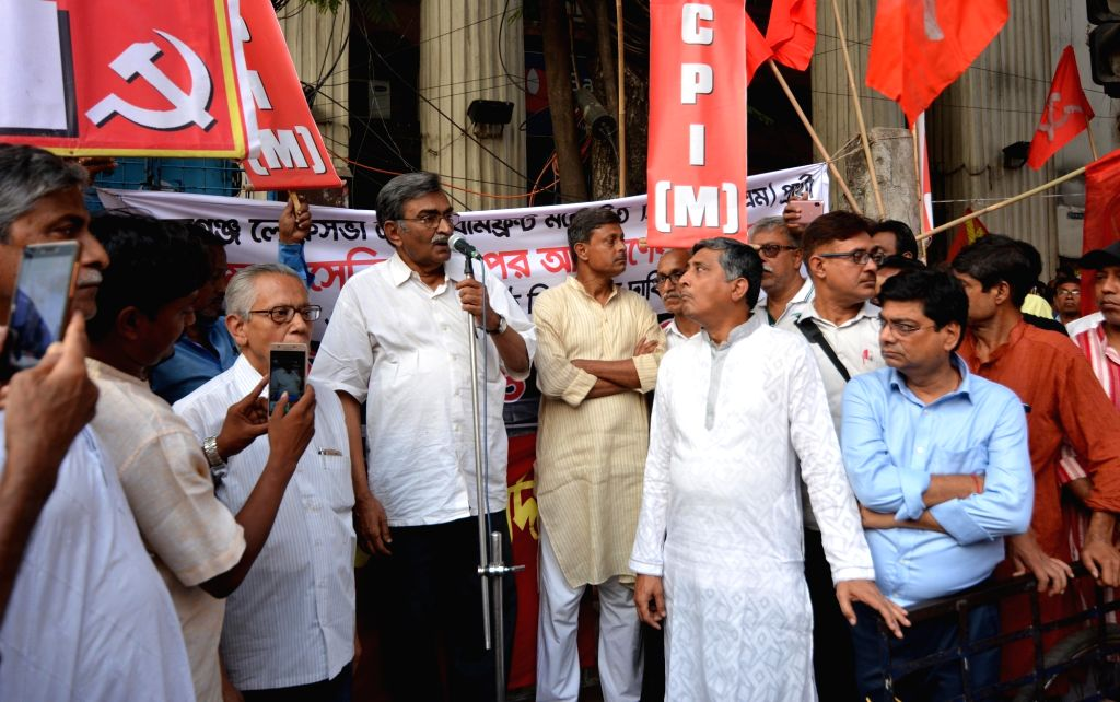 West Bengal CPI-M Secretary Surjya Kanta Mishra addresses a gathering during the party's demonstration to protest against several incidents of violence in West Bengal in the second phase of ...