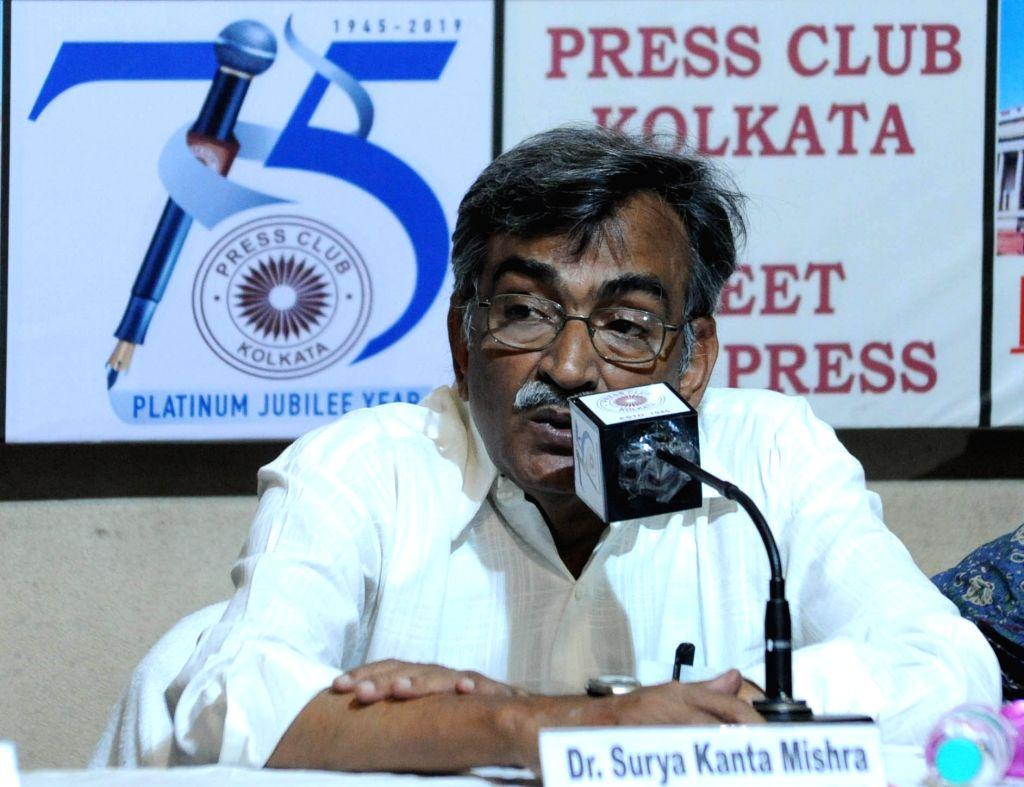 West Bengal CPI-M Secretary Surjya Kanta Mishra addresses during 'Meet the Press' programme in Kolkata, on April 27, 2019.