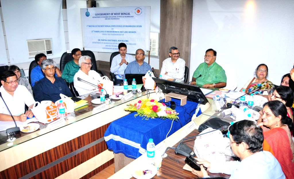 West Bengal Education Minister Partha Chatterjee chairs the 5th meeting of the West Bengal State Council of Higher Education, in Kolkata on March 27, 2018. - Partha Chatterjee