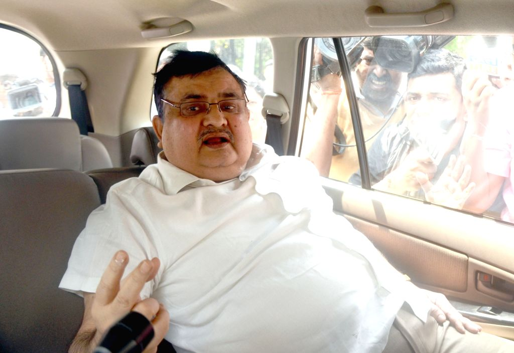 West Bengal Election Commissioner Amarendra Kumar Singh leaves after meeting with West Bengal Governor KN Tripathi in Kolkata on April 4, 2018.
