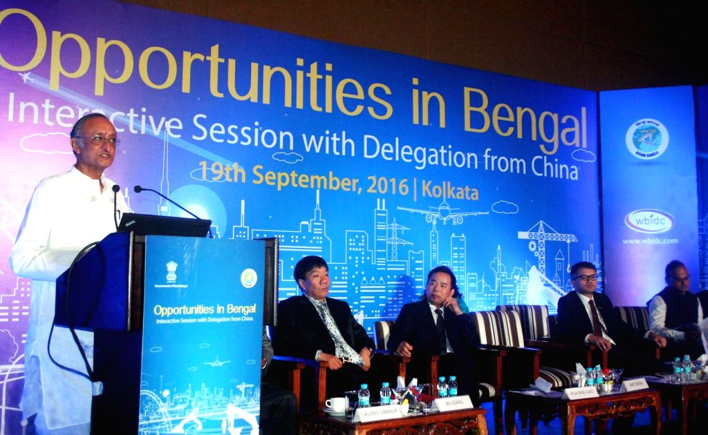 West Bengal Finance Minister Amit Mitra addresses during 'Opportunities in Bengal' - an interactive session in Kolkata, on Sept 19, 2016. - Amit Mitra