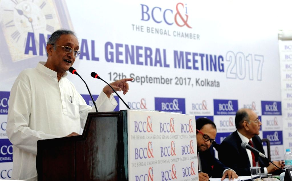 West Bengal Finance minister Amit Mitra addresses during the Annual General Meeting (AGM) of the Bengal Chamber of Commerce and Industry (BCC&I) in Kolkata on Sept 12, 2017. - Amit Mitra