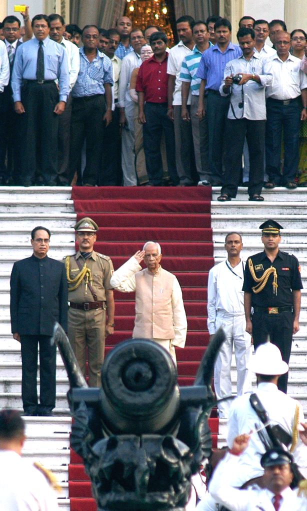 West Bengal Governor-designate Keshari Nath Tripathi arrives at Raj Bhawan in Kolkata on July 23, 2014.