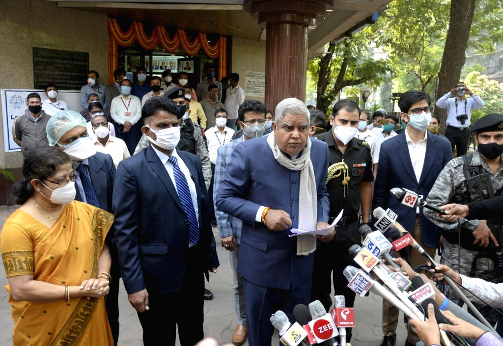West Bengal Governor Jagdeep Dhankar accompanied by his wife Sudesh Dhankar, inaugurated the Phase III regulatory trial of Bharat Biotech's COVID-19 vaccine candidate Covaxin at ICMR (Indian ...