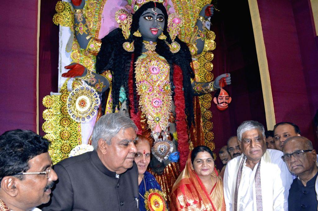 West Bengal Governor Jagdeep Dhankar and his wife Sudesh Dhankar at the inauguration of Kali Puja celebrations in Kolkata on Oct 26, 2019.