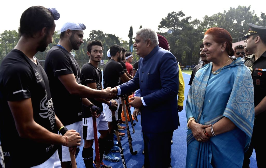 West Bengal Governor Jagdeep Dhankar meets the players of Indian Oil Corporation Ltd at SAI complex, in Kolkata on Nov 11, 2019. Indian Oil Corporation Ltd won the Beighton Cup 2-0.