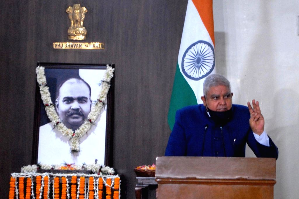 West Bengal Governor Jagdeep Dhankhar addresses Dr Syama Prasad Mookerjee's birth anniversary celebrations which were observed for the first time at Raj Bhawan in Kolkata on July 6, 2020.