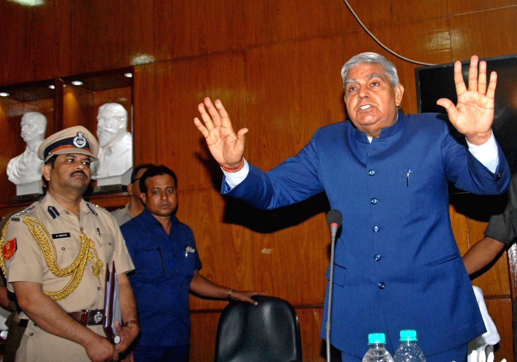 West Bengal Governor Jagdeep Dhankhar addresses a press conference after attending a court meeting at the Jadavpur University, in Kolkata on Oct 18, 2019.