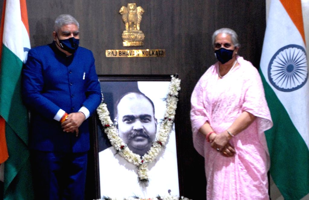 West Bengal Governor Jagdeep Dhankhar pays tributes to Dr Syama Prasad Mookerjee during his birth anniversary celebrations which were observed for the first time at Raj Bhawan in Kolkata on ...