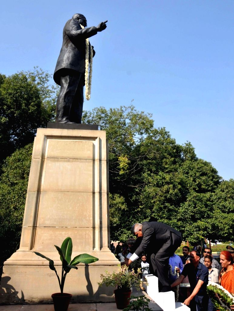 West Bengal Governor Jagdeep Dhankhar pays tributes to Dr B.R. Ambedkar on his 64th death anniversary commemorated as Mahaparinirvan Diwas, in Kolkata on Dec 6, 2019.